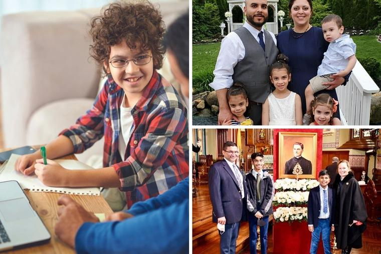 The number of home-schooling households rose from 3.2 million in 2020 before the pandemic to 6.8 million in August 2020. Those households include the Acosta and Lobo families. Julie and Omar Acosta are shown, top right, with their children Analia, Camila,  Mariela and Lucas. Bottom right, David and Phyllis Lobo and their sons Vimal (center left) and Antonio (center right) are shown at St. Mary's Church in New Haven, Connecticut, during the October 2020 beatification weekend festivities for Blessed Michael McGivney.