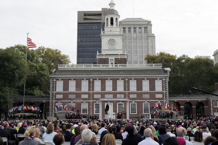 Pope Francis speaks at Independence Hall in Philadelphia on Sept. 26, 2015, in Philadelphia.