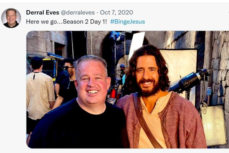 Derral Eves smiles alongside actor Jonathan Roumie, who portrays Jesus in 'The Chosen,' in an Oct. 7, 2020, Twitter post.