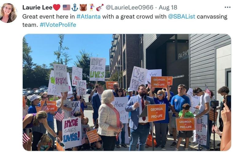 An Aug. 18 photo post shows a Susan B. Anthony-sponsored pro-life rally in Atlanta.