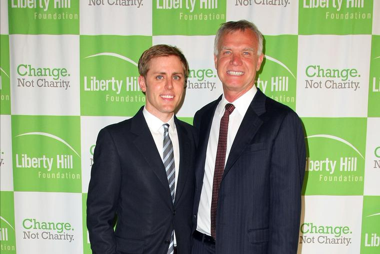 Upton Sinclair Honoree Tim Gill and and same-sex partner Scott Miller (L) arrive for the Liberty Hill Upton Sinclair Awards Dinner at The Beverly Hilton Hotel, May 11, 2011 in Beverly Hills, California.