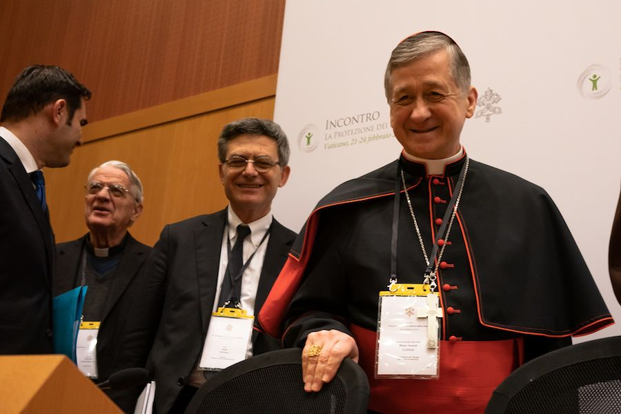 Cardinal Blase Cupich of Chicago during a press briefing in Rome, Feb. 22, 2019.