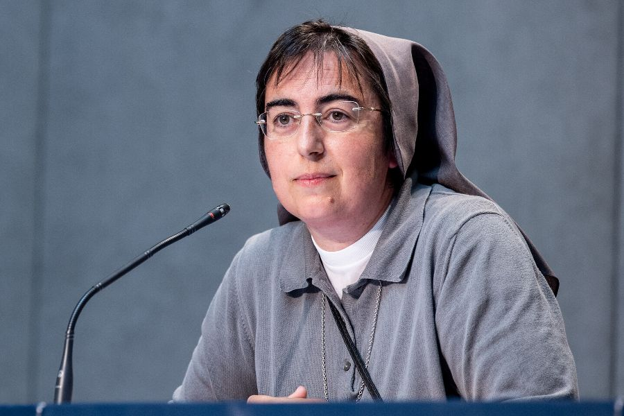 Sr. Alessandra Smerilli speaks at a press conference at the Vatican on July 7, 2020.
