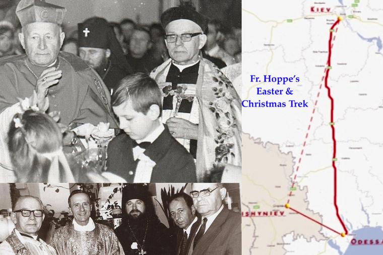 (L) O padre Tadeusz Hoppe segura a cruz na mão esquerda, à sua direita o cardeal František Tomášek abençoa os fiéis.  (BL) Encontro ecumênico no apartamento do padre Tadeusz Hoppe em Odessa.  (R) O padre Hoppe era os olhos e ouvidos do Vaticano para o sul da União Soviética.  Cada Páscoa e Natal ele fazia uma viagem de dois países, de trem, avião e táxi ou ônibus para oferecer a missa em Odessa e Kiev, Ucrânia e Chisinau, Moldávia.