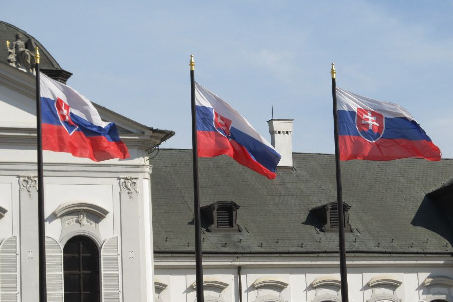 The Slovakian flag flies at the Presidential Palace in the capital, Bratislava.