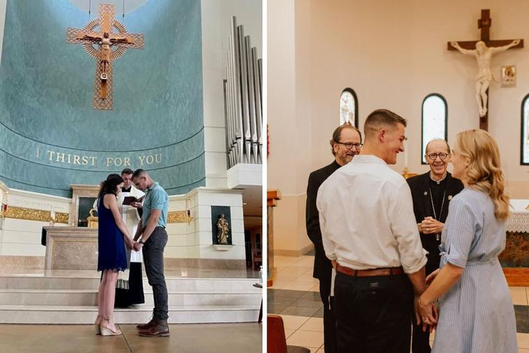 L to R: Kaitlynn Schenk and Jack McPherson recently participated in the rite of betrothal. Weston Boardman and Michaela Wuycheck have had their engagement blessed; they will be betrothed in November.