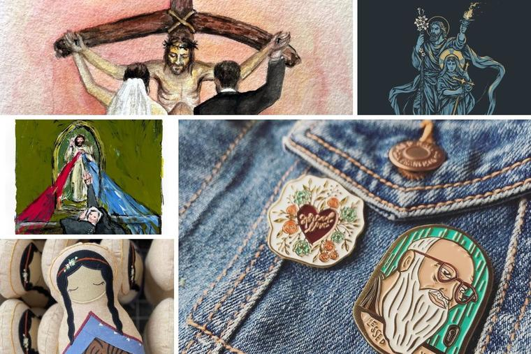 Clockwise from top left, the arts and crafts of Leanne Bowen, Chris Lewis, Rakhi McCormick, Erin Marek and Annie Vaeth has gained popularity due to its faith- and saint focus.