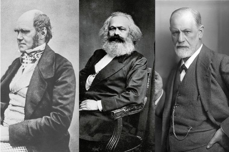 (L-R) Charles Darwin, Karl Marx, and Sigmund Freud.