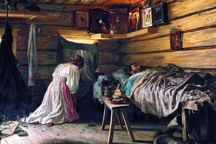 "Vassily Maximov, ""Prayer for a Sick Husband,"" 1881"