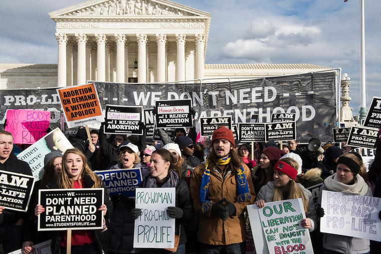 The 44th Annual March for Life, commemorating the anniversary of the 'Roe v. Wade' with the Supreme Court in the background.