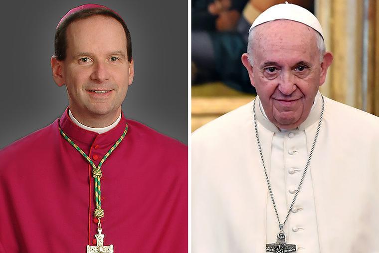 Bishop Michael F. Burbidge of Arlington (l) and Pope Francis