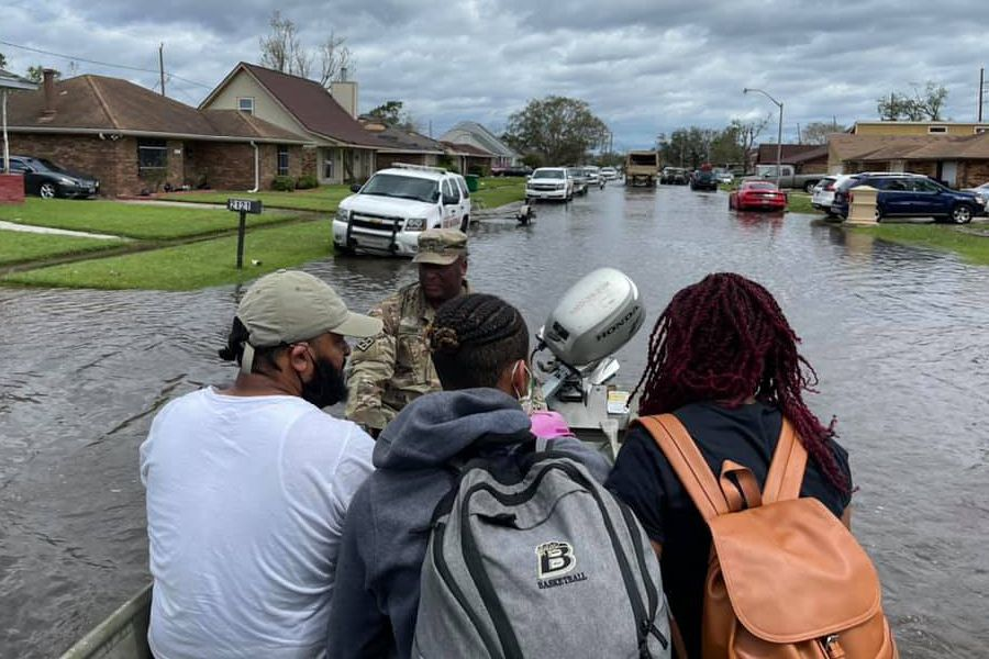 Louisiana National Guardsmen rescue people in LaPlace, Louisiana, in the aftermath of Hurricane Ida. More than 6,000 members of the National Guard from more than a dozen states are in Louisiana assisting state and federal partners with relief efforts.