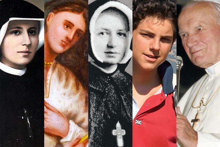 L to R: St. Faustina Kowalska, St. Kateri Tekakwitha, Blessed Dina Bélanger, Blessed Carlo Acutis, Pope St. John Paul II