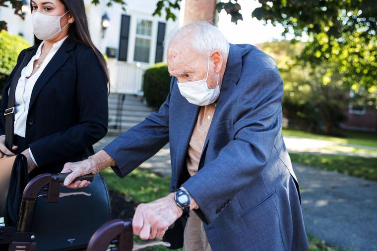 Former Cardinal Theodore McCarrick arrives at the Dedham courthouse for his first appearance for sexual assault charges on September 3, 2021 in Dedham, Massachusetts.