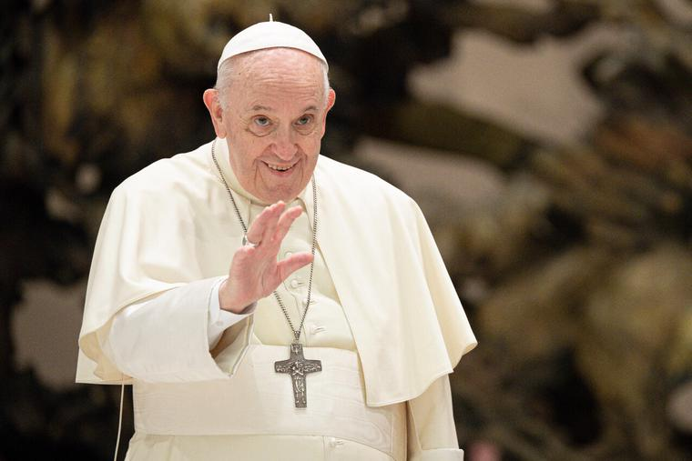 Pope Francis gives his weekly general audience in the Paul VI Hall at Vatican City on August 25, 2021