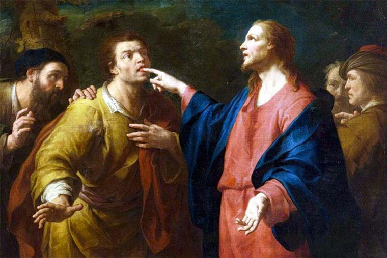 """Domenico Maggiotto (1713-1794), """"Christ Healing a Deaf and Mute Man"""""""