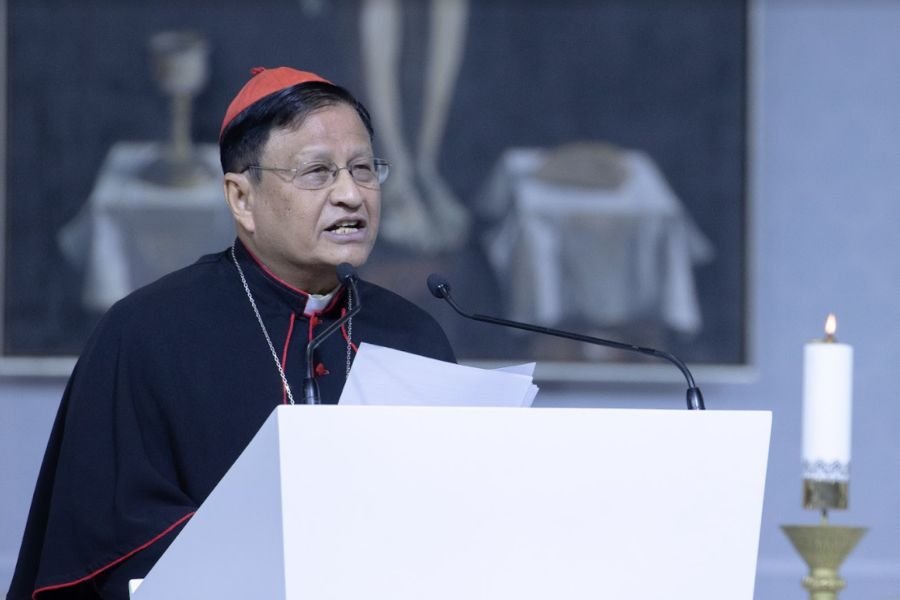 Burmese Cardinal Charles Maung Bo speaks at the International Eucharistic Congress in Budapest, Hungary, on Sept. 8.