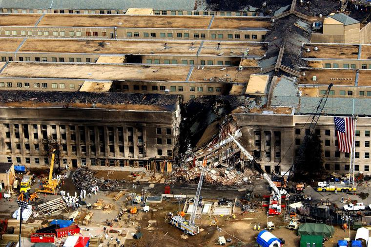The crash scene at the Pentagon is viewed from above following the terrorist attack on Sept. 11, 2001.