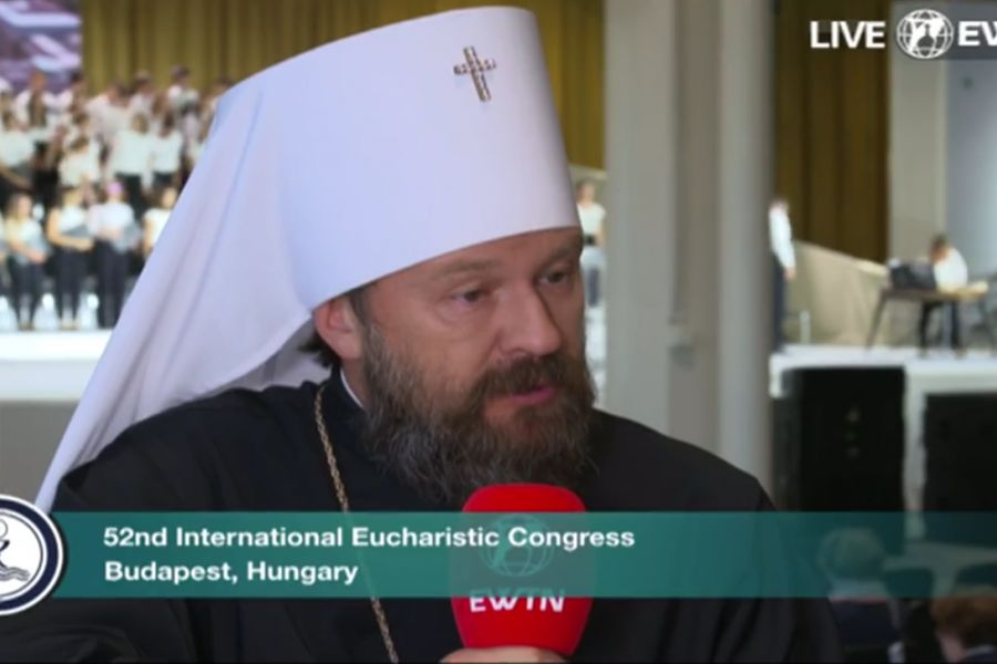 Metropolitan Hilarion Alfeyev speaks with EWTN at the 52nd International Eucharistic Congress in Budapest, Hungary.