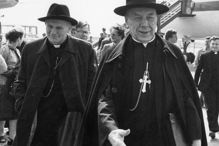 Polish Cardinals Karol Wojtyla (l) and Stefan Wyszyński arrive for the funeral of the late Pope Paul VI on Aug. 11, 1978. Cardinal Wyszyński will be beatified Sept. 12 in Warsaw.