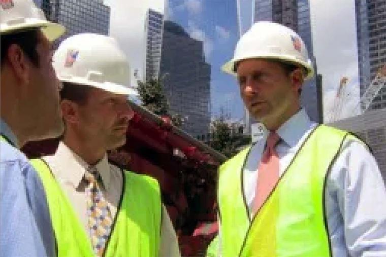 Westchester County Executive Robert Astorino (r) at Ground Zero in August 2011.