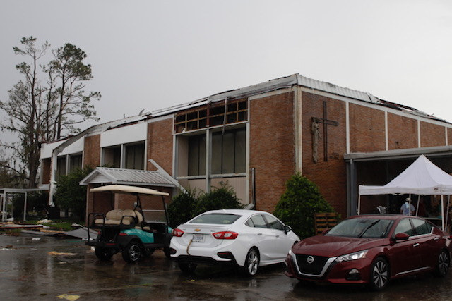 A building, ravaged by Hurricane Ida, on the campus of St. Gertrude parish in Des Allemands, Louisiana.
