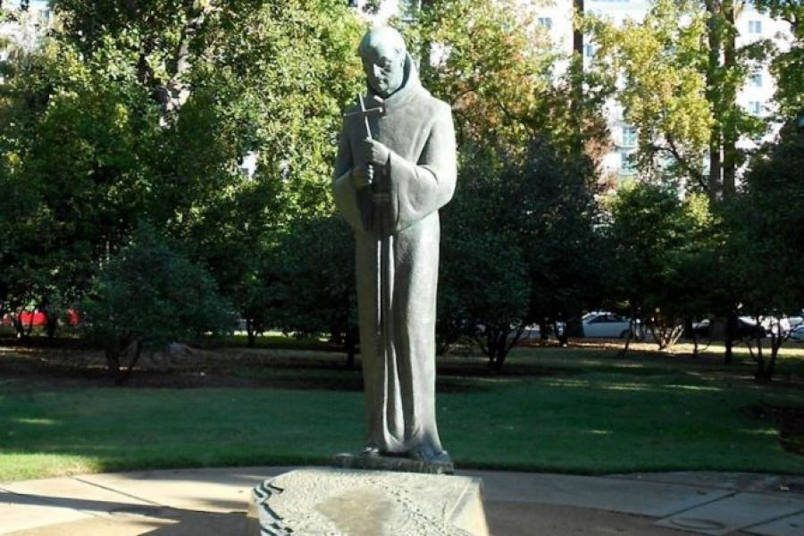 A statue of St. Junípero Serra, outside the California Capitol in Sacramento, which was destroyed by a mob on July 4, 2020.
