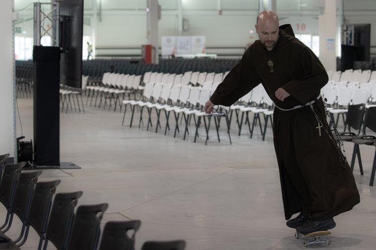 Father John Paul Mary Zeller has enjoyed skating around the International Eucharistic Congress.