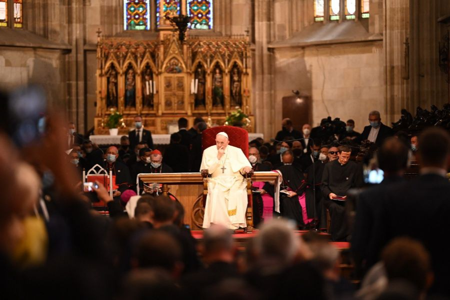 Pope Francis addresses bishops, priests, religious, seminarians, and catechists in St Martin's Cathedral, Bratislava, Slovakia, Sept. 13, 2021.