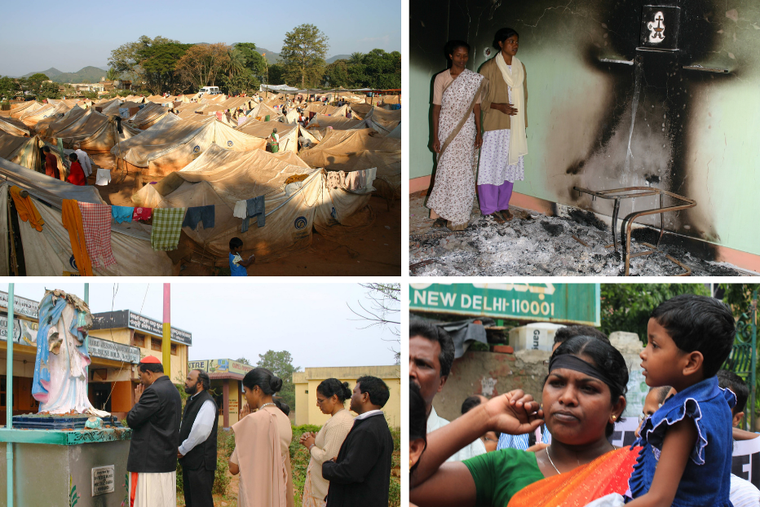 (Clockwise from L-R) The sprawling refugee camp at a football field in Raikia, Kandhamal in 2008 taken after four months into the violence. (T-R) SisterAnjali Nayak inside their burnt Mount Carmel convent chapel. (B-L) Cardinal Telesphore Toppo, then CBCI president, praying before the desecrated Marian statue at the Mount Carmel convent in Balliguda. (B-R) Widowed Kanakrekha Nayak at a protest in New in Delhi in Aug 2010 marking the second anniversary of Kandhamal.