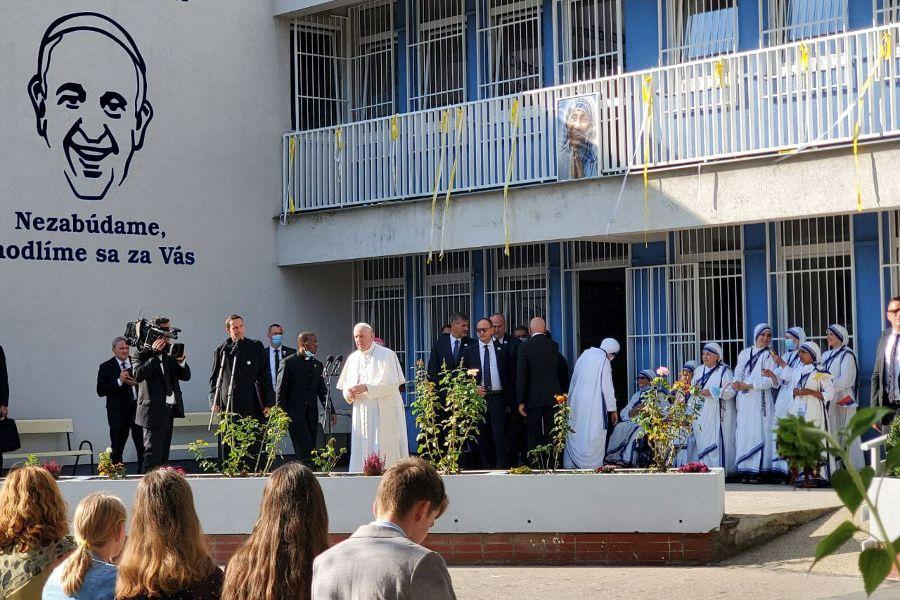 Pope Francis visits the Bethlehem Center in Bratislava, Slovakia, Sept. 13, 2021.