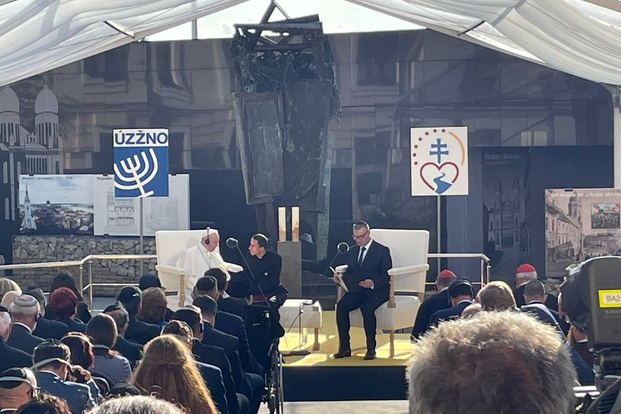 Pope Francis attends a meeting with the Jewish community in Rybné Square in Bratislava, Slovakia, on Sept. 13.