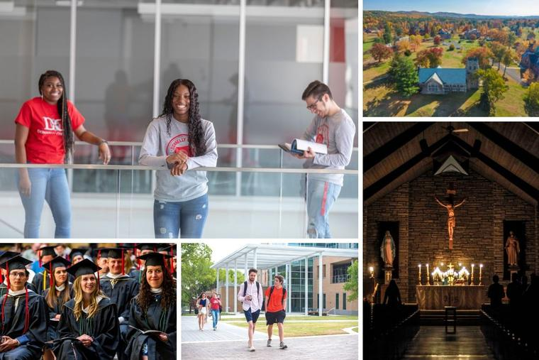 Clockwise from top left: Donnelly College, Thomas Aquinas College East, Wyoming Catholic College, the University of Dallas and the Augustine Institute are among the faithfully Catholic colleges that are featured in our annual 'Catholic Identity College Guide.'