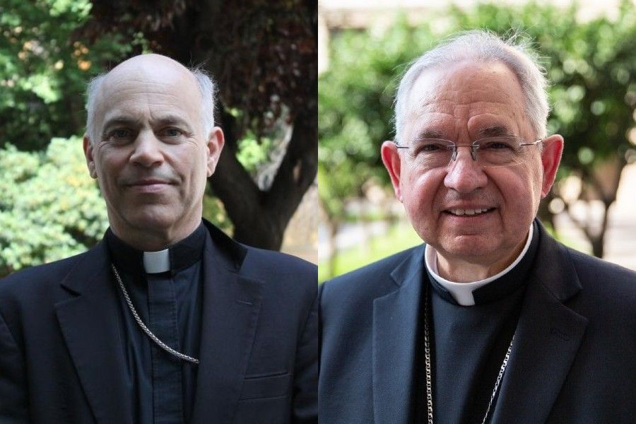 Archbishop Salvatore Cordileone of San Francisco (left) and Archbishop Jose Gomez of Los Angeles (right)