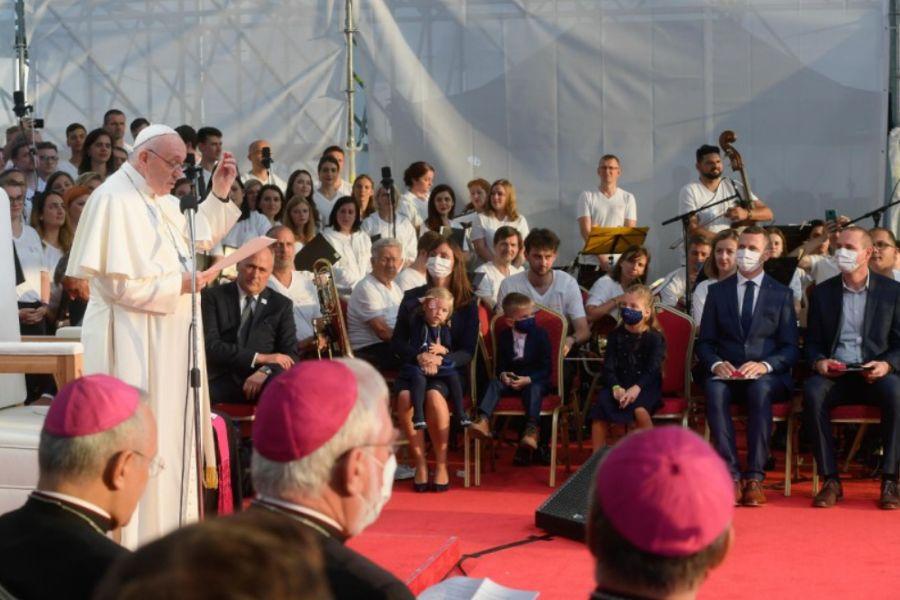Pope Francis addresses young people at Lokomotiva Stadium in Košice, Slovakia, on Sept. 14.