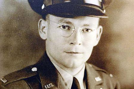 Official 1941 U.S. Army photo of Father Joseph Verbis Lafleur, Lieutenant, U.S. Army Chaplain Corps