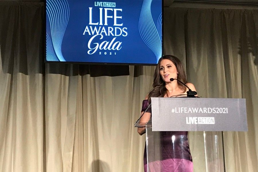Lila Rose, founder of Live Action, addresses the 2021 Live Action Life Awards Dinner at Dana Point, California; Aug. 21, 2021