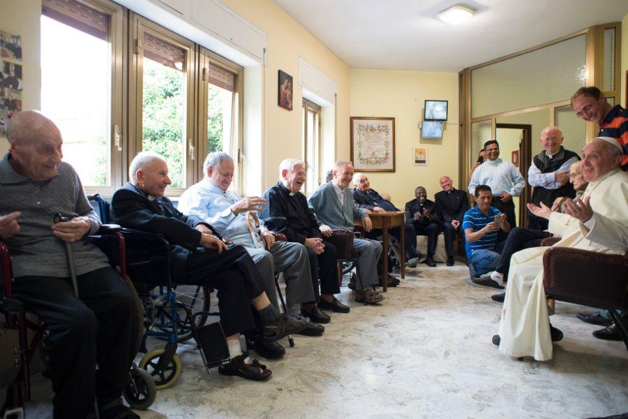 Pope Francis visits the elderly priest-residents of Casa San Gaetano in Rome, June 17, 2016.