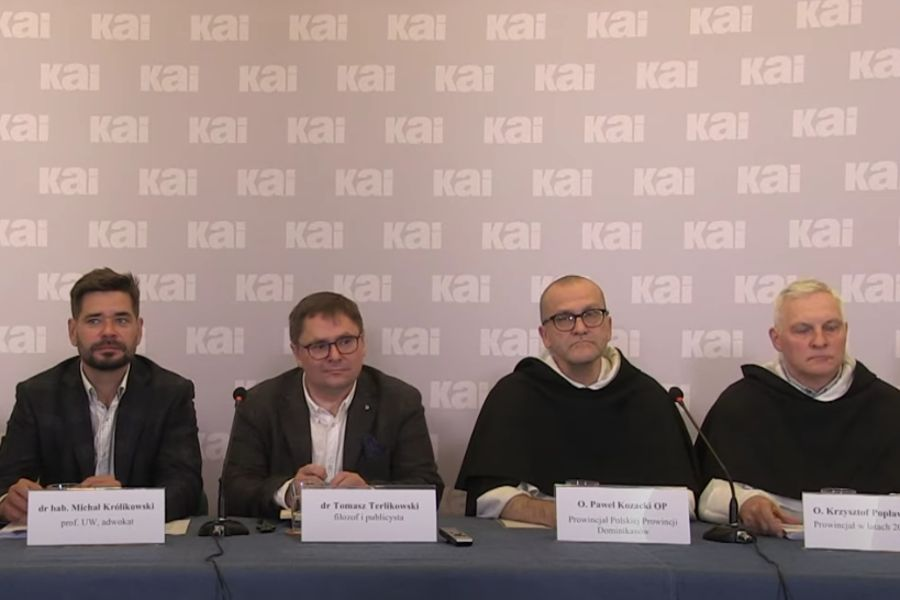 A press conference launching a report by a commision of experts on the activities of Polish Dominican priest Paweł M., Sept. 15, 2021.