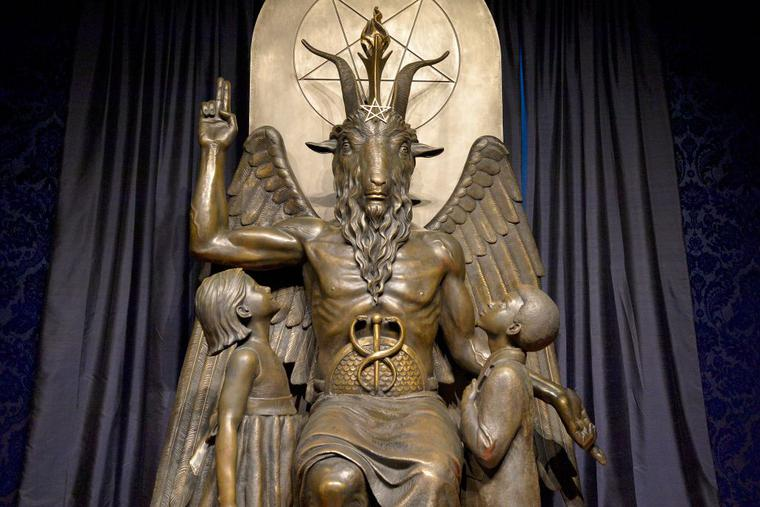 A statue Baphomet stands in the Satanic Temple in Salem, Massachusetts, on Oct. 8, 2019. Leaders of the temple have said that the Religious Freedom Restoration Act entitles its members to have access to abortifacients.