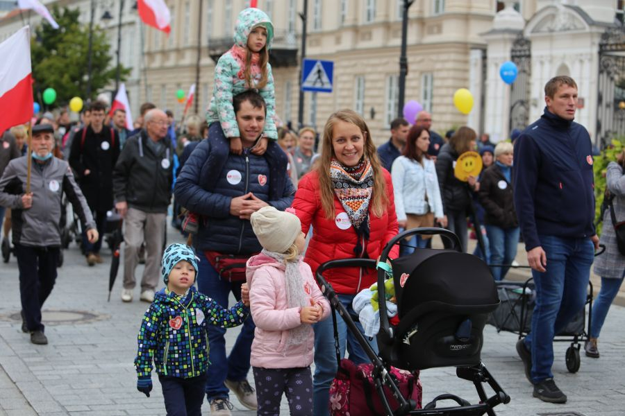 A family participates in Poland's March for Life and the Family in Warsaw on Sept. 19, 2021.