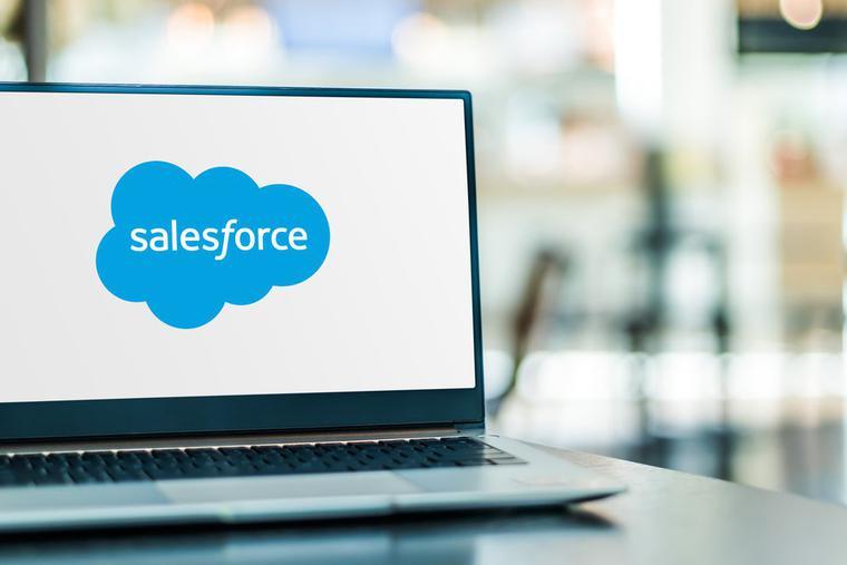 Salesforce logo displayed on a laptop computer