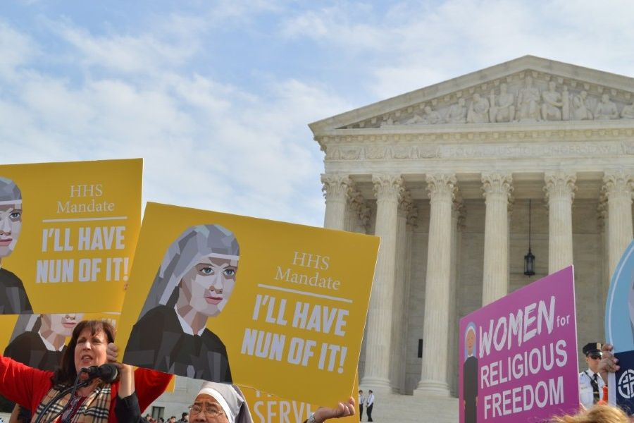 Religious sisters show their support for the Little Sisters of the Poor outside the Supreme Court, where oral arguments were heard on March 23, 2016 in the Zubik v. Burwell case against the HHS Mandate.