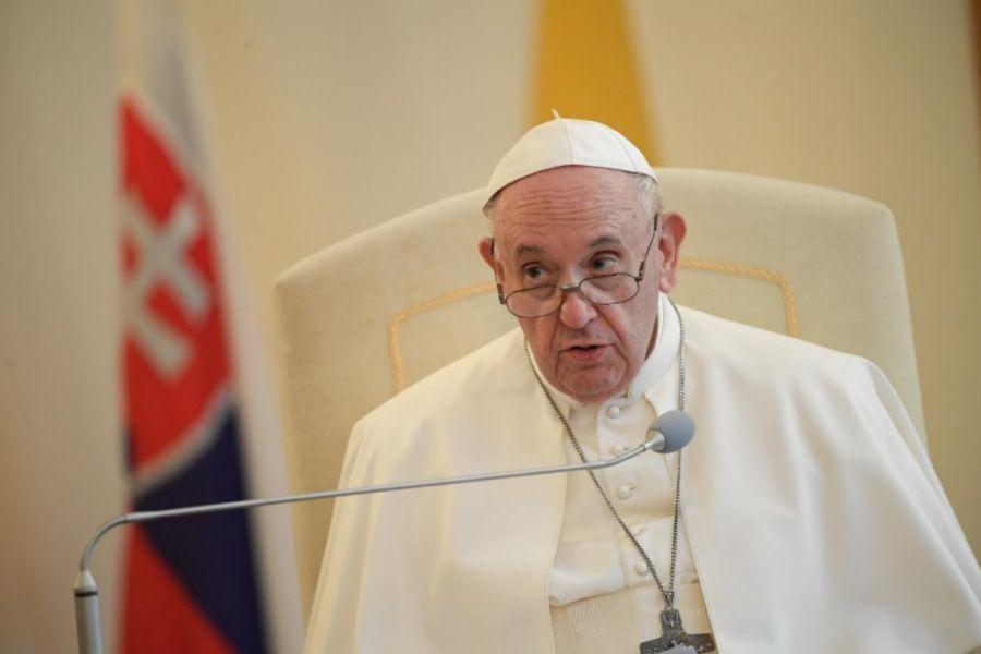 Pope Francis address an ecumenical meeting at the apostolic nunciature in Bratislava, Slovakia, Sept. 12, 2021.