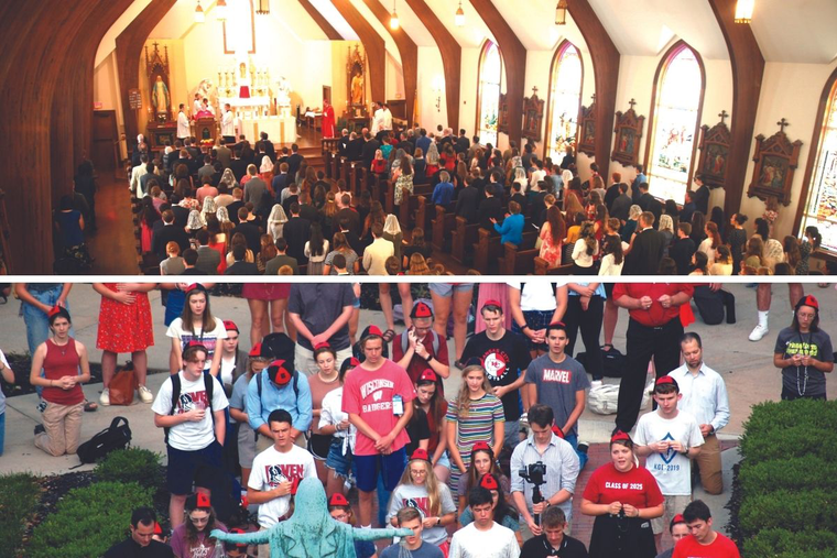 Freshmen classes at such schools as Benedictine College and Christendom College speak to the focus on Catholicity. Christendom's record-setting student body filled the college's current Christ the King Chapel for Mass with the Diocese of Arlington's Bishop Michael Burbidge to start the new school year. Benedictine's freshmen prayed the Rosary on the first day of class.