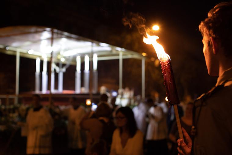 Pilgrims at the 52 International Eucharistic Congress participate in a candlelight procession and adoration Sep. 11 in Budapest, Hungary.