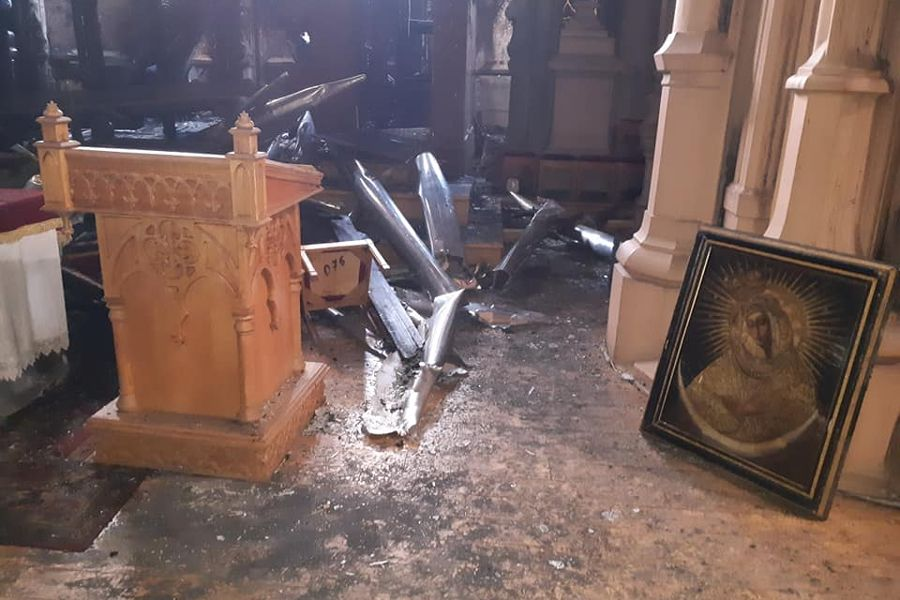 Fire Damages Historic Catholic Church in Ukraine