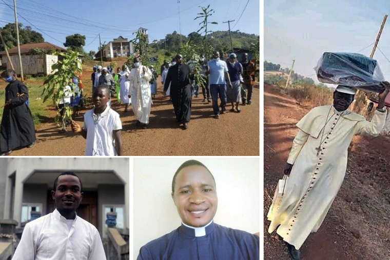 Bishop George Nkuo of Kumbo, Cameroon, leads a march for peace in Cameroon, Father Gaston Yuven Vershiyi, Deacon Doh Lawrence, and  Bishop George Nkuo of Kumbo Cameroon travels with his Mass kit to celebrate Mass.