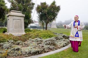 Archbishop Cordileone performs an exorcism at Golden Gate Park in San Francisco, Calif.