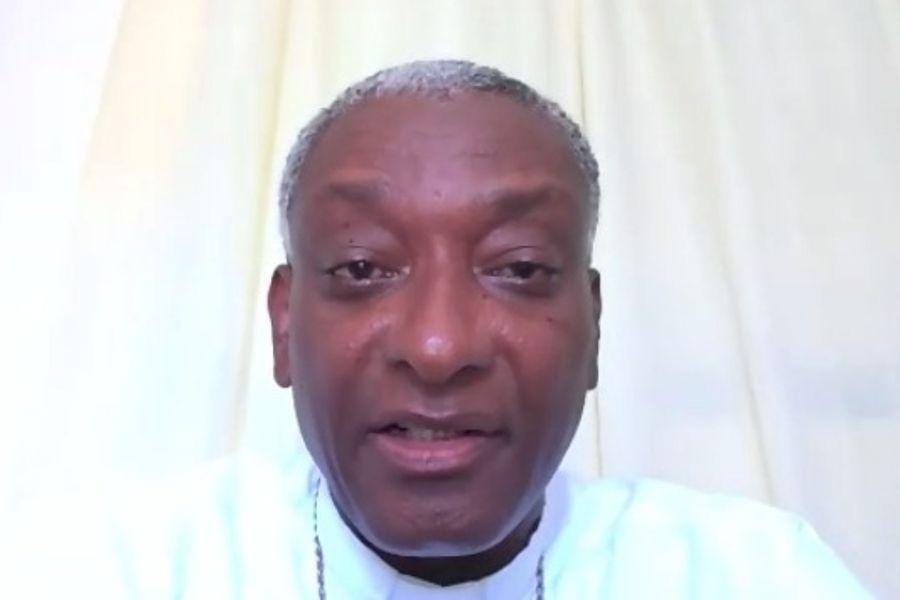Haitian Cardinal Chibly Langlois speaks during a Caritas Internationalis webinar, Sept. 21, 2021.